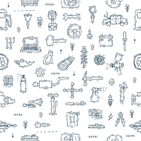 Mechanic. Seamless pattern.  Auto engine repair elements. Suspension, painting, polishing. Car service. Hand drawn vintage style. Banners. Flat design vector illustration.