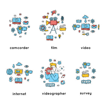 On-line Movies, post production, film and television collection, video-grapher. Set of icons. Hand drawn vintage style. Flat design vector illustration.