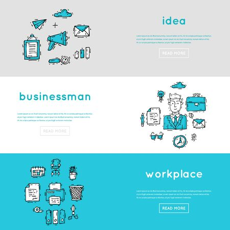 trabajo oficina: Office. Business, office work, workplace.Banners. Hand drawn vintage style. Flat design vector illustration.