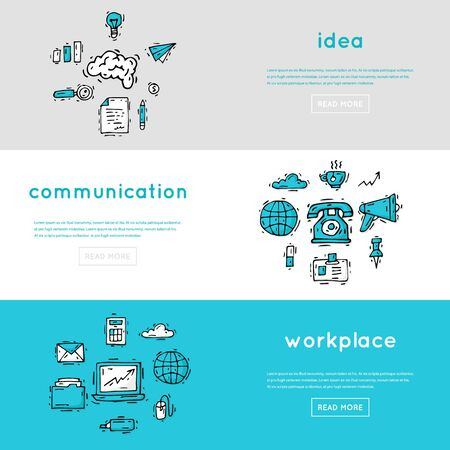 business work: Office. Business, office work, workplace.Banners. Hand drawn vintage style. Flat design vector illustration.