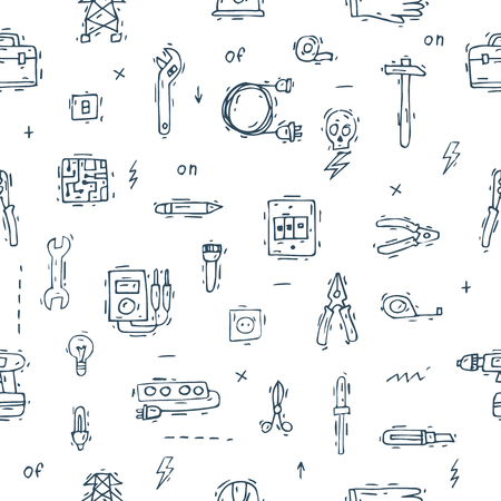 professional equipment: Equipment and tools electrician. Seamless pattern. Professional. Isolate icons. Hand drawn vintage style. Flat design vector illustration.