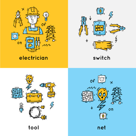 professional equipment: Equipment and tools electrician. Professional. Isolate icons. Hand drawn vintage style. Flat design vector illustration. Illustration