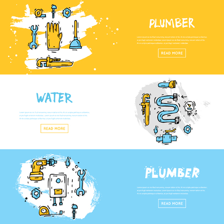 Professional plumber different tools and accessories. Repairing service. Hand drawn vintage style. Flat design vector illustration.