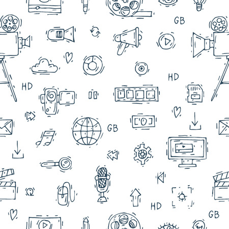 showreel: On-line Movies, post production, film and television collection, video-grapher. Set of icons. Hand drawn vintage style. Seamless pattern. Flat design vector illustration.