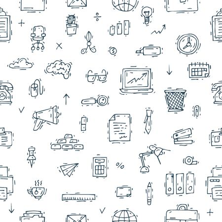 hand work: Office. Business, office work, workplace.Seamless pattern. Hand drawn vintage style. Flat design vector illustration. Illustration