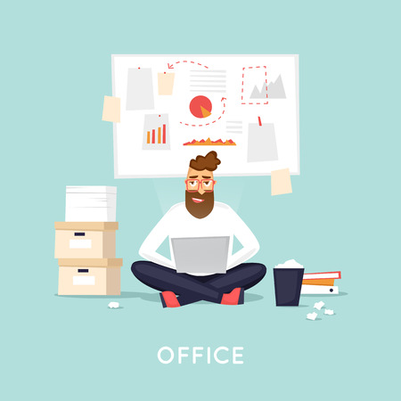 young business man: Young man working at the office, search for ideas, brainstorm, business. Flat vector illustration in cartoon style. Illustration