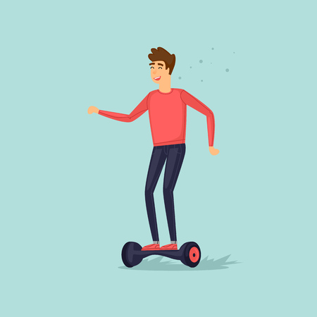 Young boy rides on a mini scooter. Flat vector illustration in cartoon style.