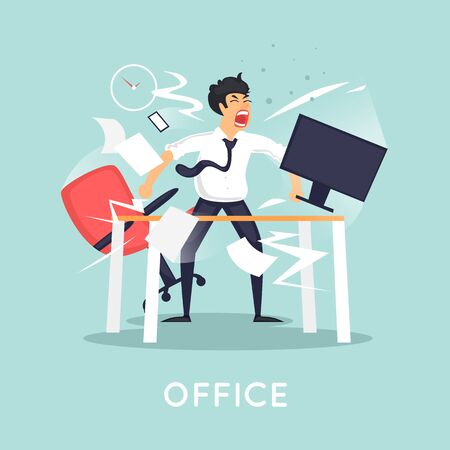 irritated: Angry and annoyed businessman in office. Flat vector illustration in cartoon style.