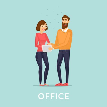 young business man: Young man and woman with the tablet, business. Flat vector illustration in cartoon style.