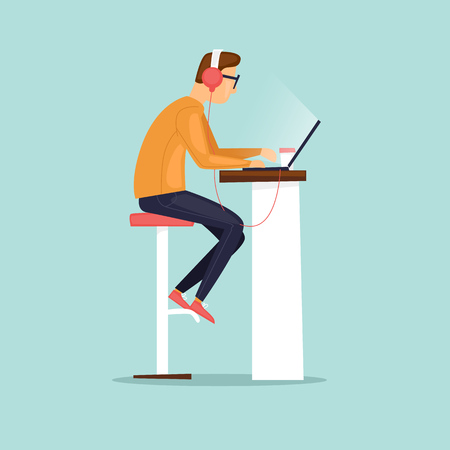 Young man working on the computer with headphones, business. Flat vector illustration in cartoon style. Ilustracja