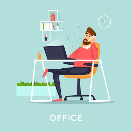 Manager talking on the phone in the office, business. Flat vector illustration in cartoon style. Vettoriali