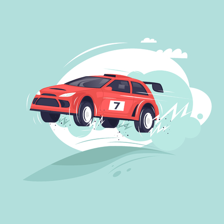 Rally car. Flat vector illustration in cartoon style. Illustration