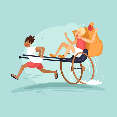 Rickshaw runs and driven by a tourist. Flat vector illustration in cartoon style.