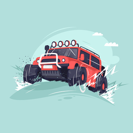 Off-road. Competitions on Suvs. Flat vector illustration in cartoon style. Illustration