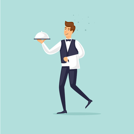 Restaurant waiter brings a dish. Flat vector illustration in cartoon style. Ilustrace