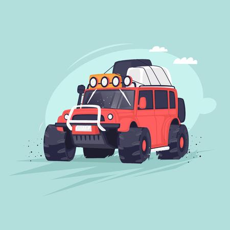 SUV de la expedición. Ilustración vectorial plana en estilo de dibujos animados. Ilustración de vector