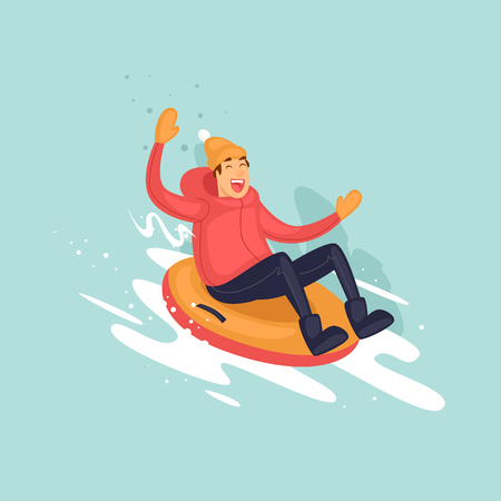 teenagers having fun: Young boy rides on a tubing in the snow. Winter. Flat vector illustration in cartoon style. Illustration