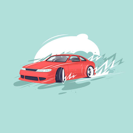 drift: Drifting car. Flat vector illustration in cartoon style.