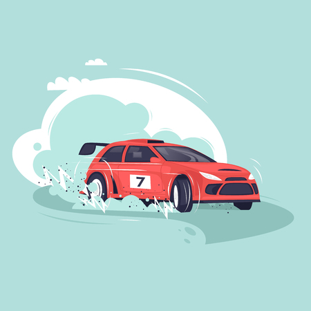 Rally car. Flat vector illustration in cartoon style. Vectores