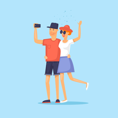 couple in summer: Couple of tourist together on a trip. Selfi-es. Character design. World Travel. Planning summer vacations. Flat design vector illustration. Illustration