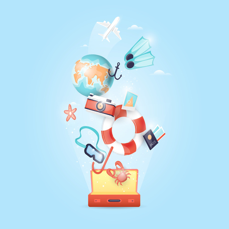illustration journey: World Travel. Planning summer vacations. Holiday, journey. Tourism and vacation theme. Flat design vector illustration.