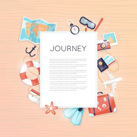 Planning summer vacations. Poster. Tourism and vacation theme.