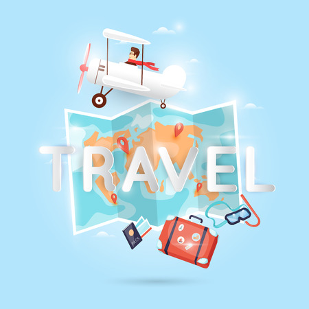 turismo: Viaje Mundial en avión. Planificación de vacaciones de verano. Vacaciones, viaje. Turismo y tema de vacaciones. Póster. Diseño plano ilustración vectorial.