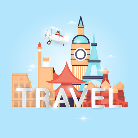 illustration journey: World Travel by plane. Planning summer vacations. Holiday, journey. Tourism and vacation theme. Poster. Flat design vector illustration. Illustration