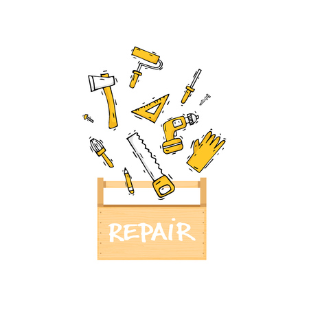 industry design: Toolbox. Building, construction and home repair tools. Instruments, engineering tools, industry equipments, painting. Hand drawn vintage style. Flat design vector illustration.