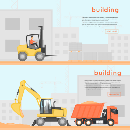 Construction of houses. Building. Construction machinery on site. Banners. Flat design vector illustrations.
