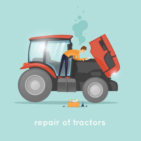 Tractor repair. Mechanic, agricultural machinery. Flat design vector illustrations.