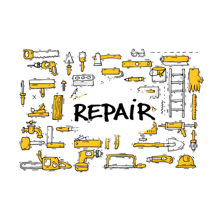 Building, construction and home repair tools. Instruments, engineering tools, industry equipments, painting. Hand drawn vintage style. Flat design vector illustration.