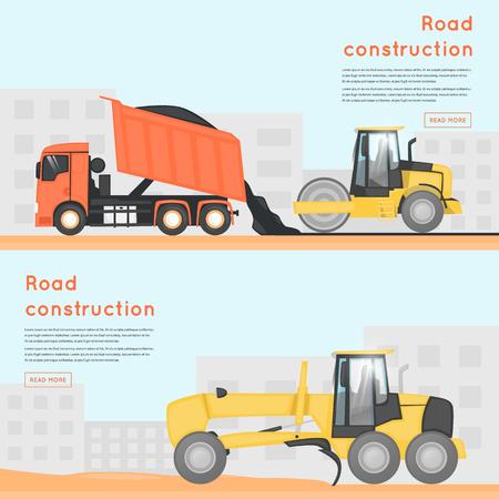 Réparation de routes. Machines de construction. Bannières. Illustrations vectorielles plates.