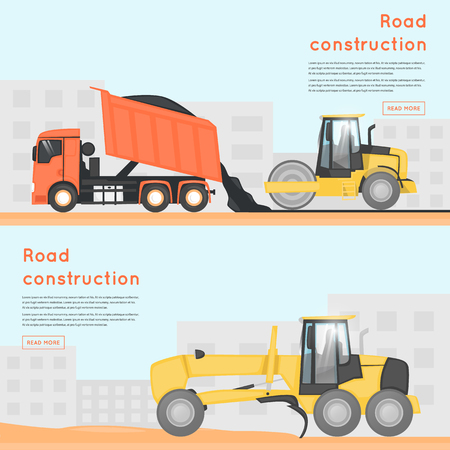 tractor warning sign: Road repair. Construction machines. Banners. Flat design vector illustrations.