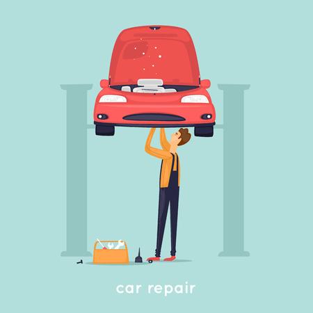 Man repair car. Shop. Flat vector illustration in cartoon style.