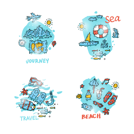 holiday vacation: World Travel. Hand drawn. Planning summer vacations, holiday, journey, set of icons. Tourism and vacation theme. Flat design vector illustration. Illustration