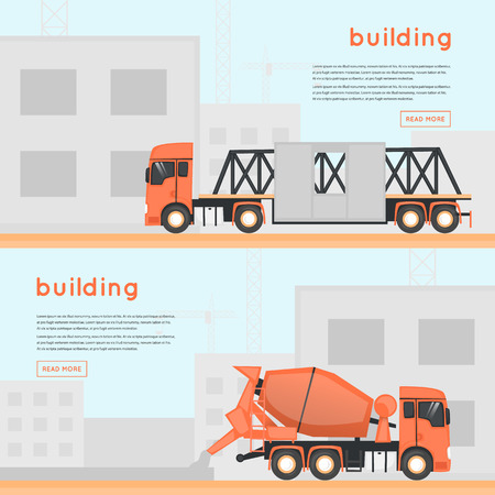 dredger: Construction of houses. Building. Construction machinery on site. Banners.