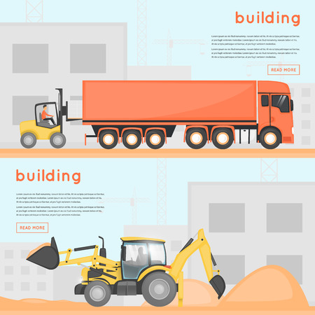 Construction of houses. Building. Construction machinery on site. Banners.