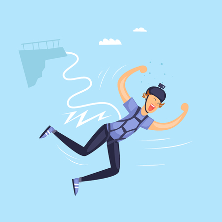 wet flies: Bungee jumper. Isolated. Extreme sport. Flat design vector illustrations.