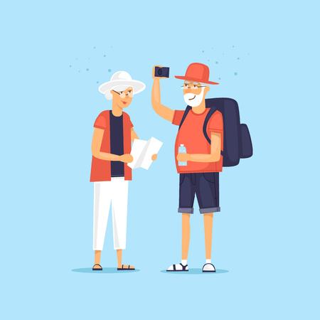 Traveling old people. Selfie. Character design. World Travel. Planning summer vacations. Flat design vector illustration. Illustration