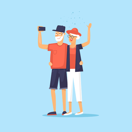 old couple walking: Traveling old people. Selfie. Character design. World Travel. Planning summer vacations. Flat design vector illustration. Illustration