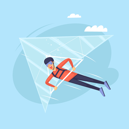 Hang glider. Isolated. Extreme sport. Flat design vector illustrations.
