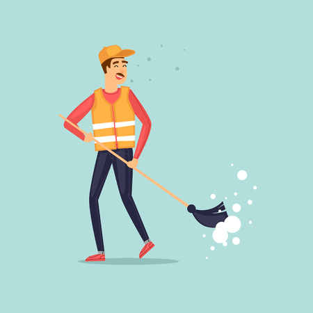 Garbage collector with a broom. Character design. Flat design vector illustration. Illustration