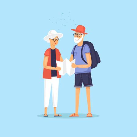 Traveling old people. Selfie. Character design. World Travel. Planning summer vacations. Flat design vector illustration. 向量圖像