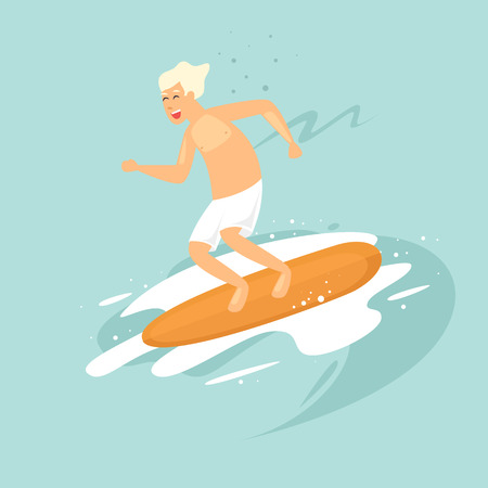 Guy is surfing. Flat vector illustration in cartoon style.