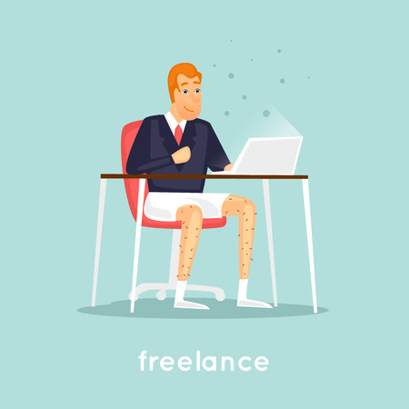 Freelancer is sitting at the table. Flat vector illustration in cartoon style.