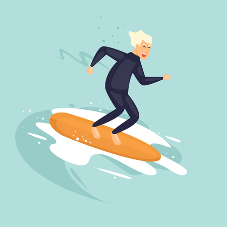 Cool guy is surfing. Flat vector illustration in cartoon style. Illustration