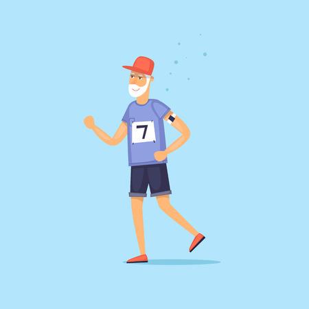 Elderly man is running. Vector illustration flat style.