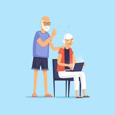 Mature couple sitting on the Internet. Vector illustration flat style.