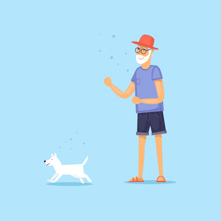 Mature man walking a dog. Vector illustration flat style.